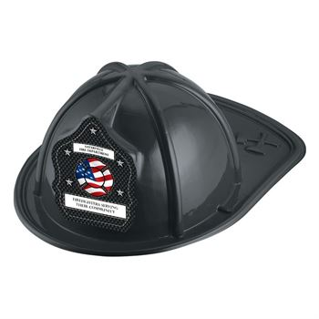Black Junior Firefighter Hat With Flag Design With Personalization