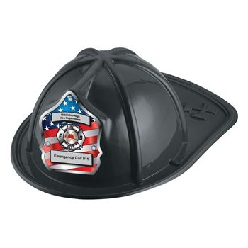 Patriotic Junior Firefighter Hats (Black) With Personalization