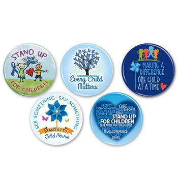 50-Button Assortment Pack Child Abuse Prevention