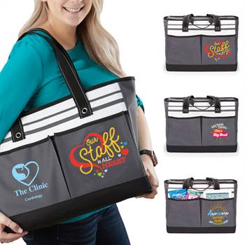Our Staff Is All Heart Traveler Two-Pocket Tote Bag Plus Personalization