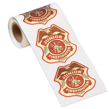 Junior Firefighter Badge Stickers-On-A-Roll - 100 Stickers Per Roll