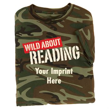 Wild About Reading Camouflage T-Shirt (Adult) - Personalization Available