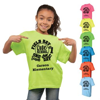 Field Day Youth 100% Cotton Neon T-Shirt - Personalization Available