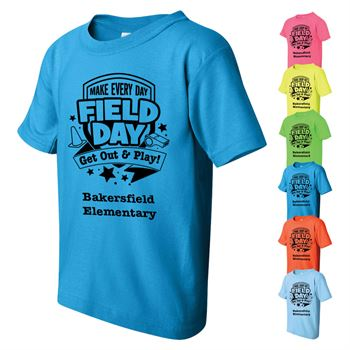 100% Cotton Youth Neon Field Day Themed T-Shirt - Personalization Available