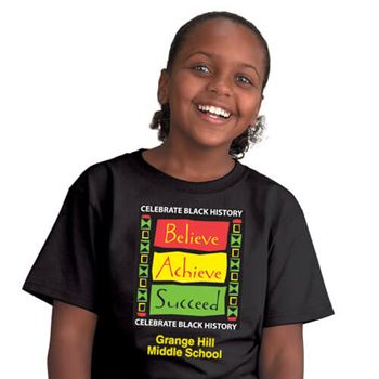 CELEBRATE BLACK HISTORY: BELIEVE ACHIEVE SUCCEED (YOUTH) T-SHIRT WITH PERSONALIZ