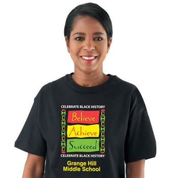 CELEBRATE BLACK HISTORY: BELIEVE ACHIEVE SUCCEED (ADULT) T-SHIRT WITH PERSONALIZ