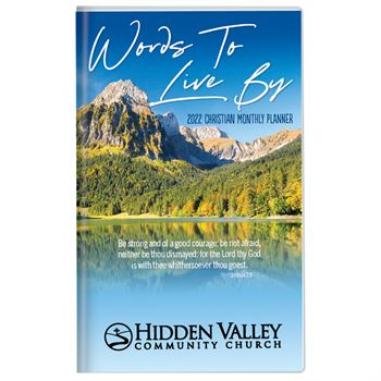 Scenic Waterfall 2021 Deluxe Words To Live By Christian Monthly Pocket Planner with Sleeve - Personalization Available