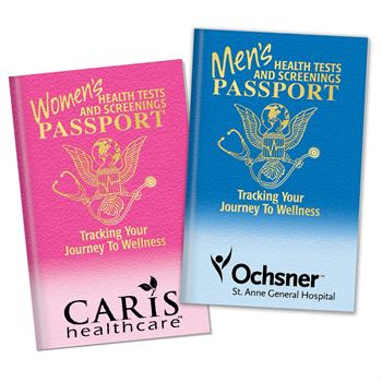 Women's/Men's Health Tests and Screenings Passport Flip Book - Personalization Available
