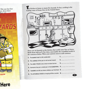 Let's Hunt For Home Fire Hazards Educational Activities Book - Personalization Available