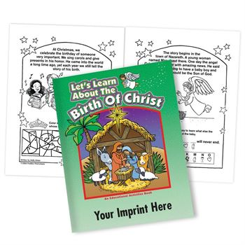 Let's Learn About The Birth Of Christ Educational Activities Book - Personalization Available