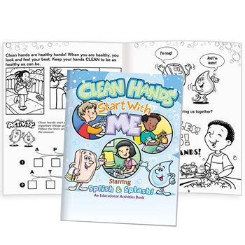 Clean Hands Start With Me Starring Splish & Splash! Educational Activities Book - 50 Books Per Pack