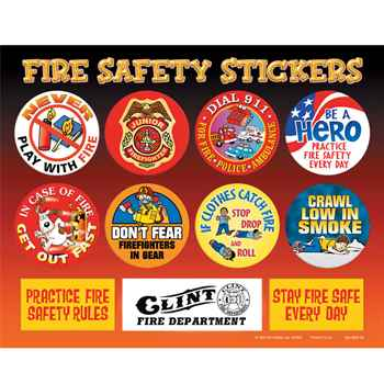 Fire Safety Stickers Sheet - Personalization Available