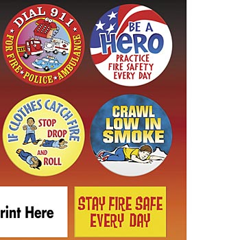Fire Safety Stickers Sheet with Personalization