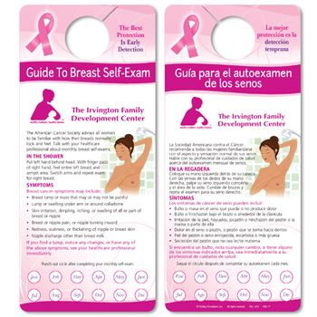 Self-Exam Punch-Out Reminder Shower Card English/Spanish - Personalization Available