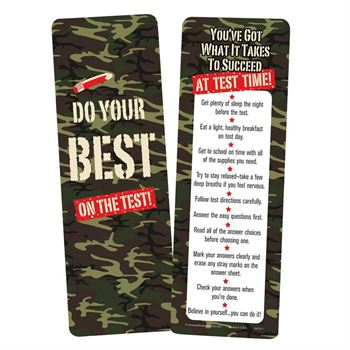 Do Your Best On The Test! Camouflage Bookmarks - Pack of 25