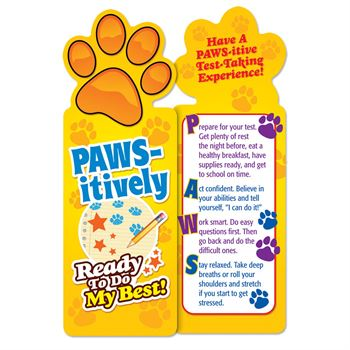 PAWS-itively Ready To Do My Best! Paw-Shaped Bookmarks - Pack of 25