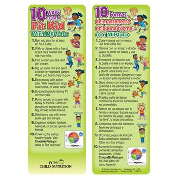10 Ways To Be A Fit Kid With MyPlate Die-Cut Bookmark - Personalization Available