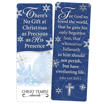There's No Gift At Christmas As Precious As His Presence Silver Foil-Stamped Bookmark - Personalization Available