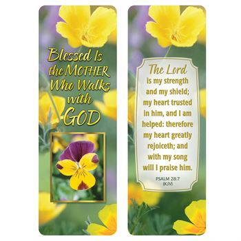 Blessed Is The Mother Who Walks With God Deluxe Bookmark - Pack of 15