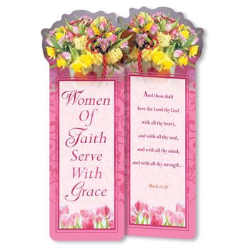 Women Of Faith Serve With Grace Deluxe Die-Cut Bookmarks - Pack of 15