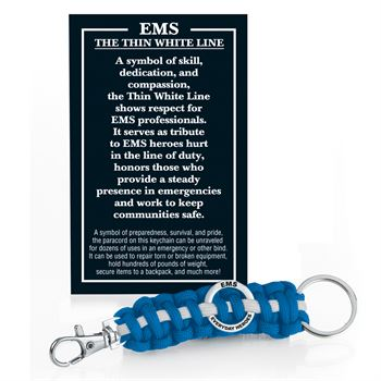 EMS: Everyday Heroes: The Thin White Line Paracord Key Chain With Card