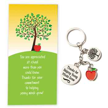 Thanks For Helping Young Minds Grow Charm Key Tag With Appreciation Card
