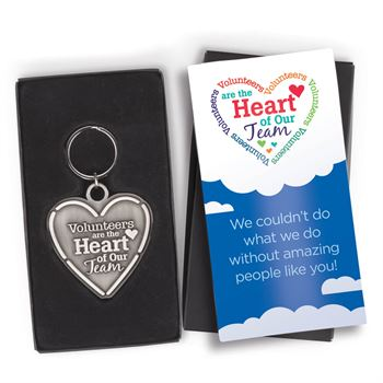 Volunteers Are The Heart Of Our Team Pewter Key Tag with Keepsake Card