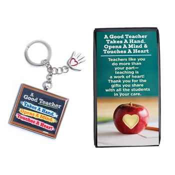 A Good Teacher Takes A Hand, Opens A Mind, Touches A Heart Key Tag with Keepsake Card