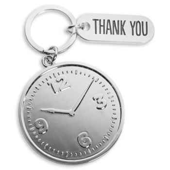 Clock Key Tag and Thank You Charm With Keepsake Card