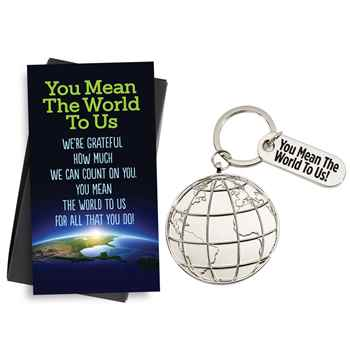 You Mean The World To Us Globe Key Tag & Thank You Charm with Keepsake Card