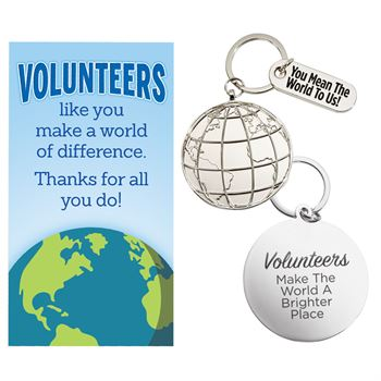 Volunteers Make The World A Brighter Place Key Tag With Card