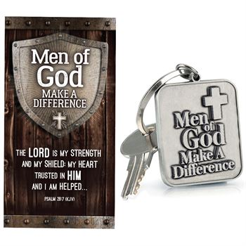 Men of God Make A Difference Metal Key Tag With Keepsake Card