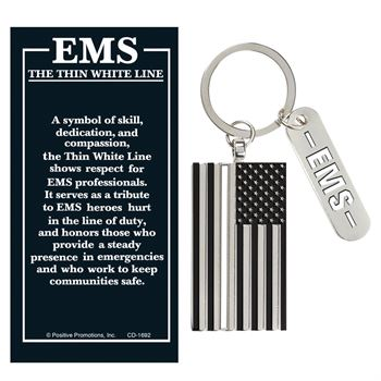 Thin White Line Charm Key Tag With Keepsake Card