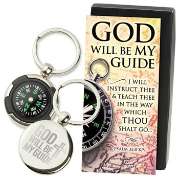 God Will Be My Guide Compass Key Tag With Keepsake Card