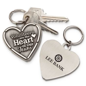 Volunteers Are The Heart Of Our Team Pewter Key Tag with Keepsake Card w/Personalization on back