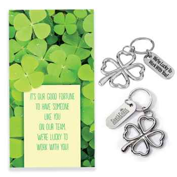 We're Lucky To Work WIth You! Key Tag With Keepsake Card - Personalization Available