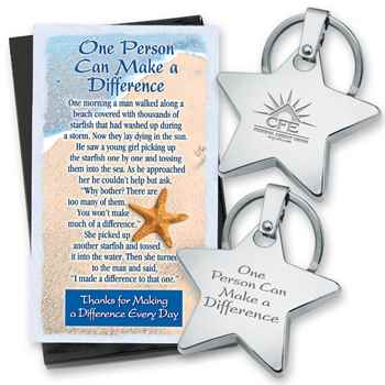 One Person Can Make A Difference Star Key Tag With Keepsake Card - Personalization Available