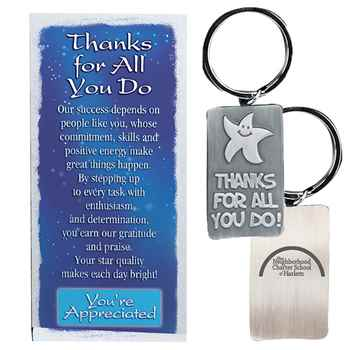 Thanks For All You Do! Pewter Key Ring Plus Personalization