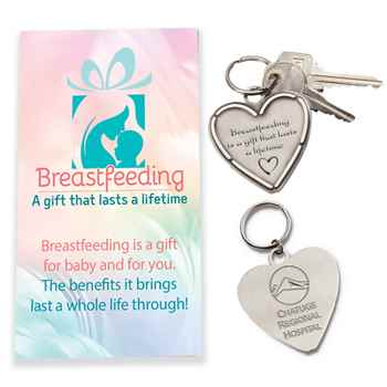 Breastfeeding Is A Gift That Lasts A Lifetime Heart Key Tag With Keepsake Card Plus Personalization