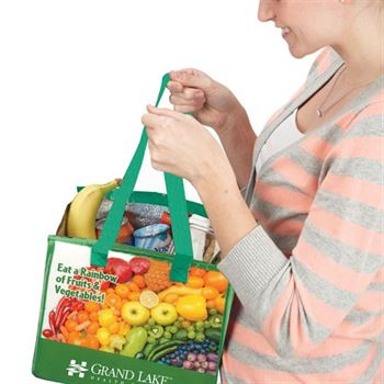 Eat A Rainbow Of Fruits & Vegetables! Eco-Friendly Laminated Insulated Lunch Bag w/ Personalization