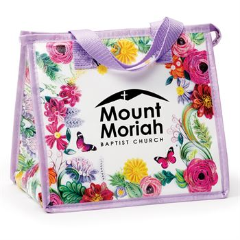 Floral Laminated Non-Woven Insulated Lunch Bag - Personalization Available
