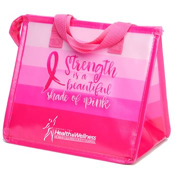 Strength Is A Beautiful Shade Of Pink Insulated Laminated Eco-Lunch Bag - Personalization Available