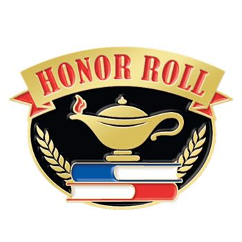 Honor Roll With Lamp Of Knowledge Lapel Pin