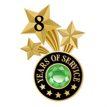 8 Years Of Service Triple Star Lapel Pin With Jewel Box