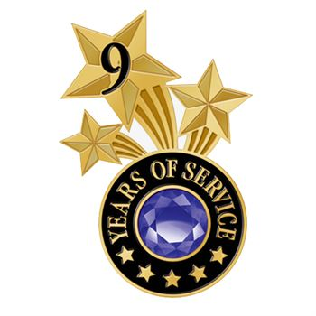 9 Years Of Service Triple Star Lapel Pin With Jewel Box