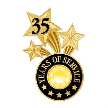 35 Years Of Service Triple Star Lapel Pin