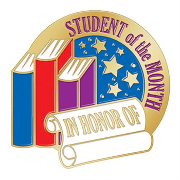Student Of The Month Books With Stars Design Lapel Pin