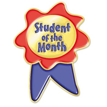 Student Of The Month Ribbon Design Lapel Pin