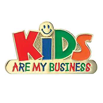 Kids Are My Business Lapel Pin With Presentation Card