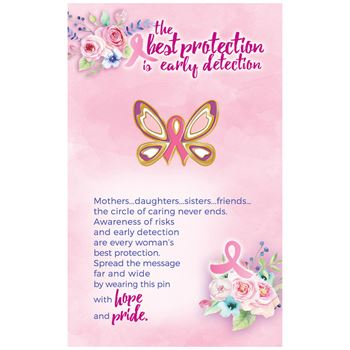 Butterfly Ribbon Breast Cancer Awareness Lapel Pin